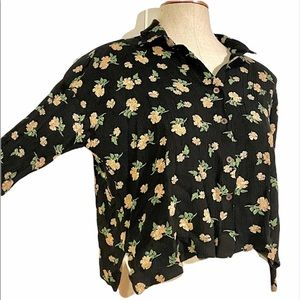 Anthropologie MO:VINT Floral Crop Buttoned Blouse